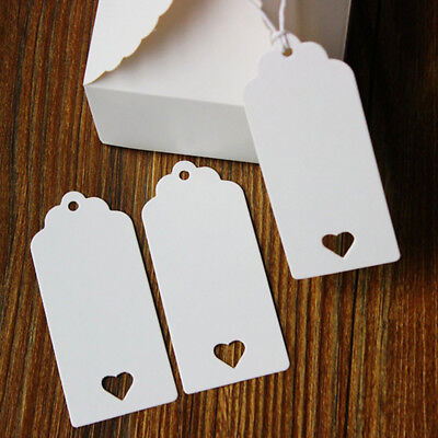 Gifts Tags White Kraft Paper Heart Hollow Labels Hanging Wedding Favor Decor D