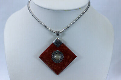 Stunning Itaor Sterling Silver and Red Mottled Glass Pendant- 14234