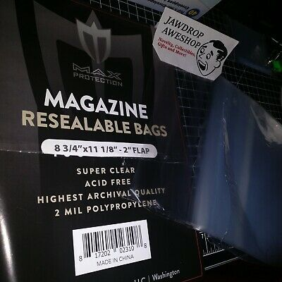 """Loose 10 Max Pro Magazine Size RESEALABLE BAGS ACID FREE 8 3/4""""x11 1/8"""", 2"""" flap"""
