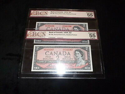 2X1954 $2.00 Consecutive Serial Numbers Notes Bcs Graded
