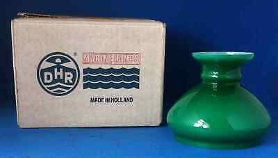 """NOS DHR Marine Oil Lamp Green Glass Shade 5 1/16"""" Fitter Made In Holland"""