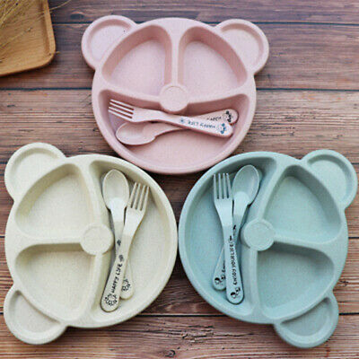 3pcs Baby Plate Children Cartoon Food Dishes Wheat Straw Baby Bowl Spoon Fork UK