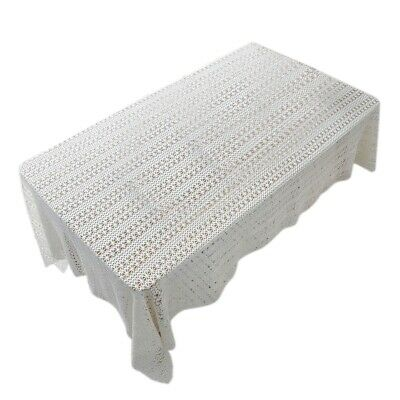 3X(White Table Clothes For Wedding Rectangle Crochet Tables Cover Handmade K3W3