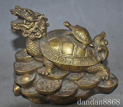 chinese brass copper fengshui animal wealth money coin Dragon turtle Tortoises