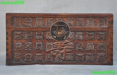 Chinese Huanghuali wood inlay bronze carved longevity shou 寿 statue cabinet box