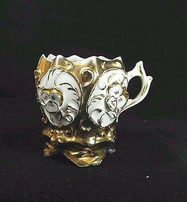 ANTIQUE GERMAN Fine Porcelain GOLD White Flowers RELIEF Collectible CUP