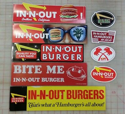 ONE IN N OUT BURGER STICKER IN AND OUT HAMBURGERS NO DELAY worldwide shipping $3