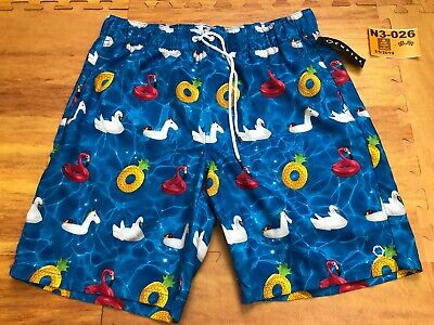 d65c604621 New Men EMPYRE SWIM TRUNKS Large L Blue Flamingo Pool Float Pockets  Drawstring❄️