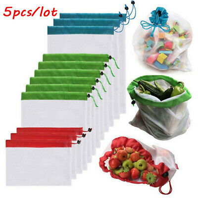 5pcs Reusable Mesh Produce Bag Washable Shopping Storage Fruit Vegetable Handbag