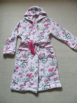BNWT Girls Monsoon Hooded Pink Avery Swan Fleece Dressing Gown Robe Age 9-10yrs
