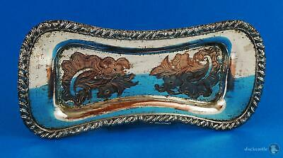 George IV OLD SHEFFIELD PLATE SNUFFER / PEN / JEWELLERY TRAY c1825 Floral