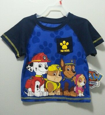 New Boys Paw Patrol T-Shirt Size 3T 4T 2 Sided Pocket Nickelodeon Chase Ryder