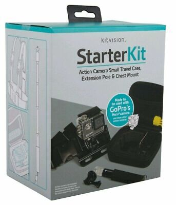 Kitvision Action Camera Accessories Starter Kit Case Pole & Chest Mount GoPro