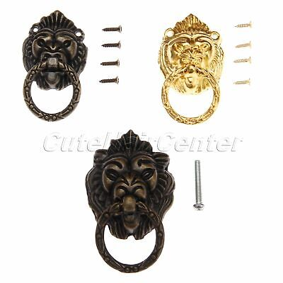 Antique Hardware Lion Head Closet Pull Handles Drawer Door Cabinet Ring Knob 1X