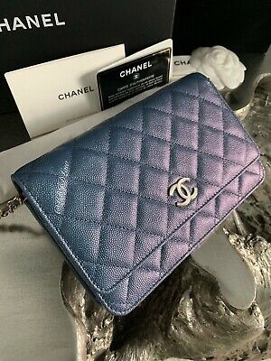 3ba82e253a4a Nwt Chanel 19S Iridescent Blue Caviar Woc Clutch Wallet-On-Chain Cc Pearly  2019