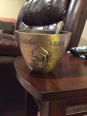 Vintage Brass Mortar And Pestle Pharmacy Class Of 1983 Rx Secundum Artem