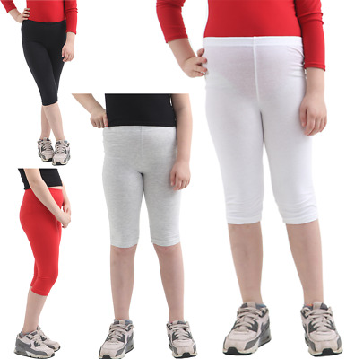Kids 3-4 Length Cotton Leggings Girls Gym Sports Wear Plain Soft Skinny Leggings