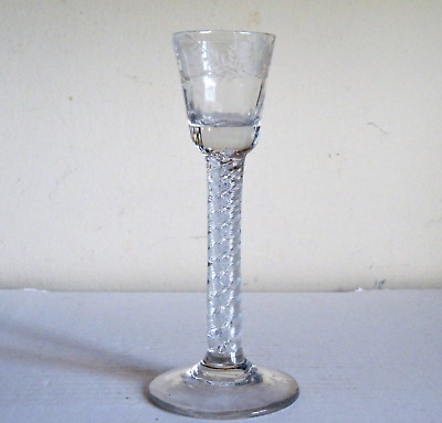 A RARE IRISH 18th CENTURY GEORGIAN AIR TWIST STEM ENGRAVED CORDIAL GLASS
