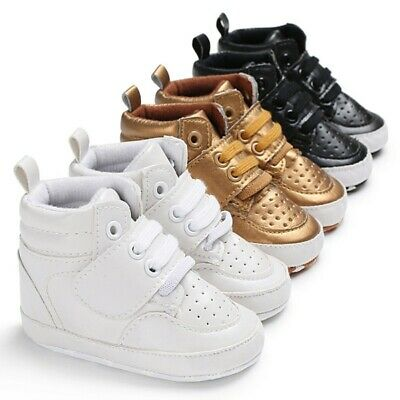 Toddler Baby Newborn Boy Girl Leather Soft Sole Crib Shoes Sneakers Prewalker.