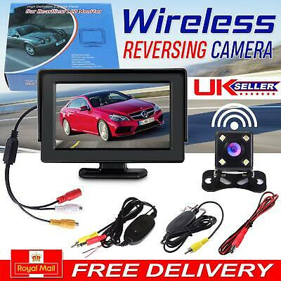 720p Waterproof Wireless Car Reversing Camera Kit Rear View LCD 4.3 inch Monitor