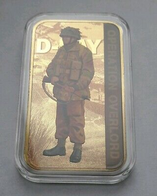 "2019 75th Anniversary D-Day ""Forces"" - 24 Carat Gold Plated Commemorative Ingot"