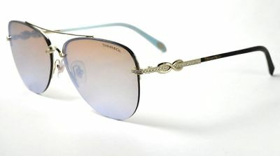279012866 Tiffany & Co TF3054 B 6021/64 Pale Gold Pilot /Brown Mirrored Sunglasses