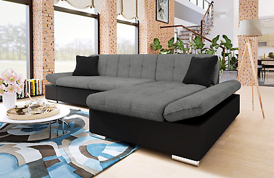 SOFA MALVI - Corner Sofabed - Fabric/Leather + Bed & Storage ...