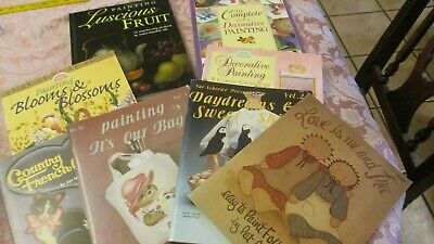 Lot of 8 Decorative Tole/Folk Painting/Paint Books instructions, projects