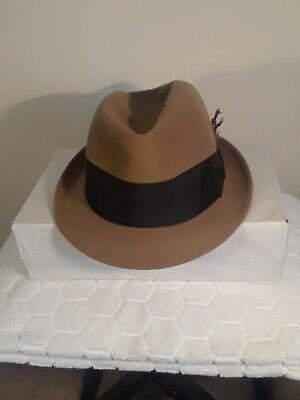 21d7612e77449a Vintage 1950's Dobbs Fifth Avenue Sandune Color Felt Men's Fedora Hat Size  ...