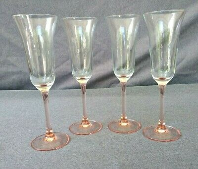 "Champagne/Wine Flutes Glasses with Pink Stems - Set of 4 - 8 1/2"" Tall"