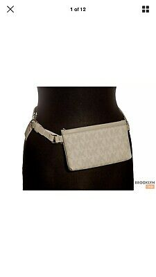014029c686e339 New MICHAEL KORS Fanny Pack Belt Bag MK Logo Bag Arctic White Vanilla Sz:  Large