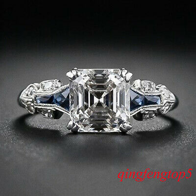 Huge Natural 6Ct Alexandrite Ring 925 Silver Engagement Wedding Size 6-10 Bridal