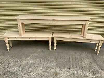 vintage style pine bench seat bare timber ITW 2 seater
