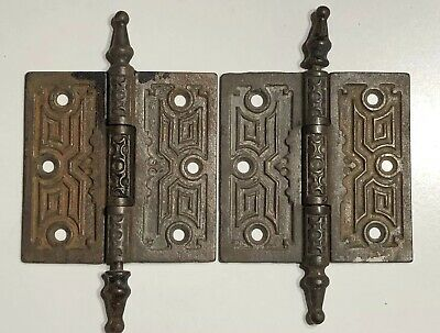 "PAIR OF ANTIQUE VICTORIAN CAST IRON DOOR HINGES 4""x4""  EASTLAKE STEEPLE TIP"