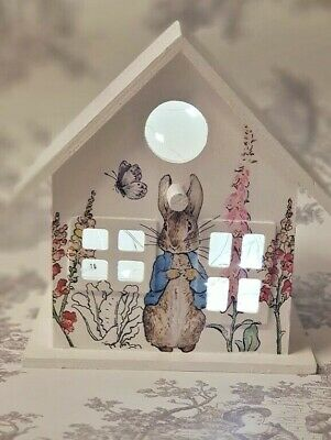 ❤ Large  Shabby Chic LED Lantern Lamp in Beatrix Potter Peter Rabbit Design