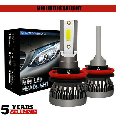 MINI H11 H8 H9 Car LED Headlight Kit Bulbs 9000LM 72W Xenon White 6000K Bright