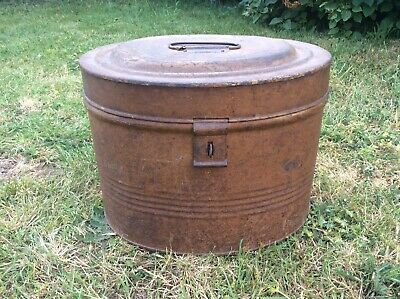 Large Vintage Edwardian Victorian Metal Tin Hat Box Tan Brow Storage Trunk