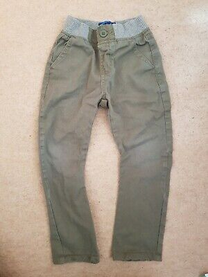 Bluezoo Carrot Leg trousers Khaki Jeans Age 4 rib waist elasticated pull on.