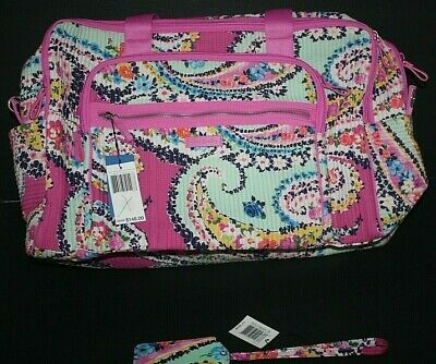 Vera Bradley Iconic Deluxe Weekender L Blush & Brush Pill Tag Wildflower Paisley