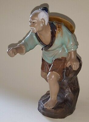Chinese vintage Victorian oriental antique large fisherman figurine F