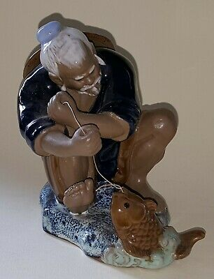Chinese vintage Victorian oriental antique fisherman figurine ornament E