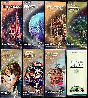 NEW 2019 Walt Disney World Theme Park Guide Maps - 8 Current maps ++ BONUS !!!