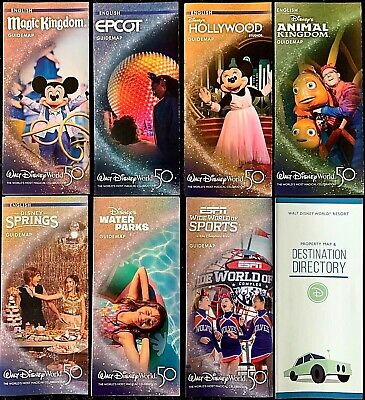 NEW 2020 Walt Disney World Theme Park  Maps - 8 Current maps +BONUS -- RARE !!