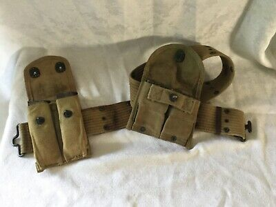 Original WW2 USMC US Army M1936 utility belt  WITH POUCHES AND CLIPS