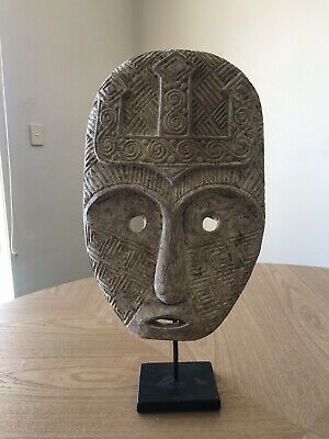 Wooden Tribal Mask on Black Stand