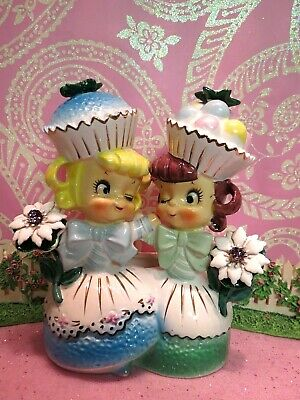 Vtg Enesco Sweet Shoppe Cupcake Candy Girls Head Vase Planter W Floral Bouquets