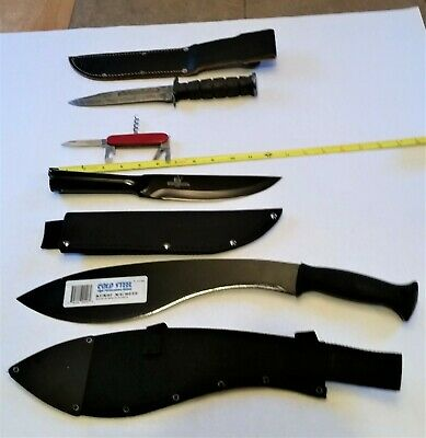 Authentic Wwii Camillus Fighting Knife, New Cold Steel Kukri And Bushman Blades