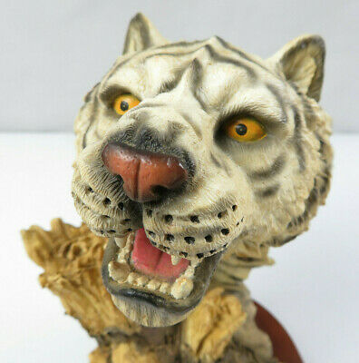 White Bengal Tiger Head Bust Collectible Wildlife Figurine Statue Resin