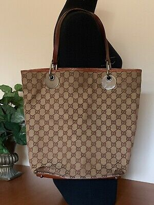 35a0c57139fb 100% AUTHENTIC GUCCI Tote Bag Eclipse GG Browns Canvas - $111.00 ...