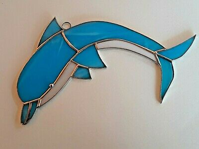 Blue Dolphin - Handmade - Stained Glass  Sun catcher 10'' x 7'' inches.100%glass